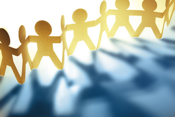 Teamwork paper chain people