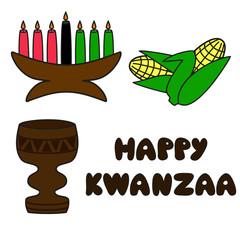 set of traditional kwanzaa symbols and text Happy Kwanzaa