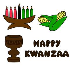 set of traditional kwanzaa symbols and text Happy Kwanzaa