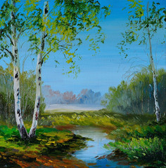 oil painting - birch in the field near the river