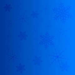 Vector winter bright blue background with snowflakes