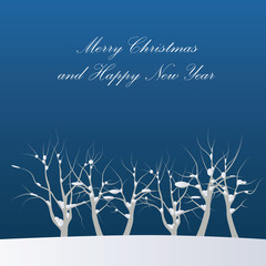 New Year and Marry Christmas cards with winter snowy landscapes,