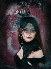 Portrait of a dark romantic Lady, 3d CG