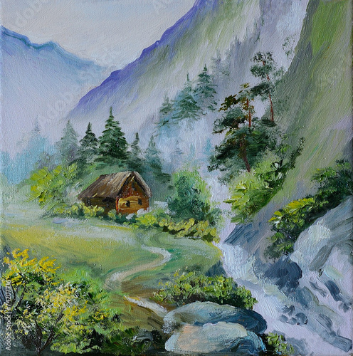 oil painting - landscape in mountains, house in the mountains an © Fresh Stock