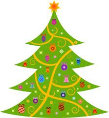 Green Christmas Tree Illustration