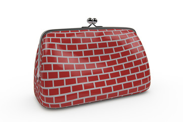 closed purse  with a red brick wall patern