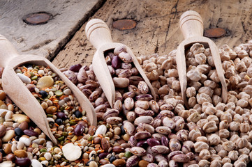scoops full of mixed pulses