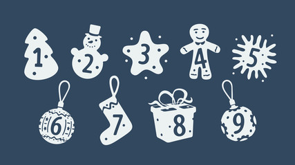 Set of Christmas symbols numbered