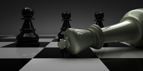 Chess King fell in front of pawns