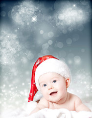 Portrait of a baby with Santa hat