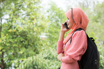 Woman hold smartphone call to talk
