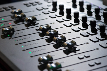 Sound mixer. Professional audio mixing console with lights