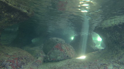 Underwater sunbeams in a cave