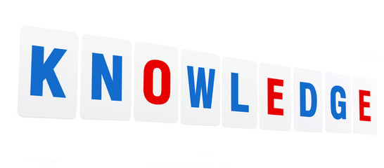 Knowledge word formed by educational paper cards isolated