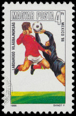 Stamp printed in Hungary shows the World Cup Football Championsh