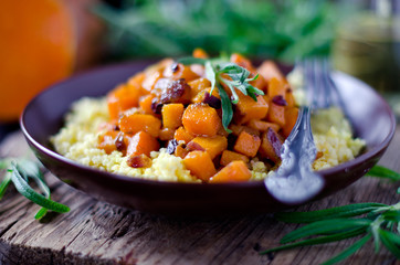 Stewed pumpkin with millet and rosemary