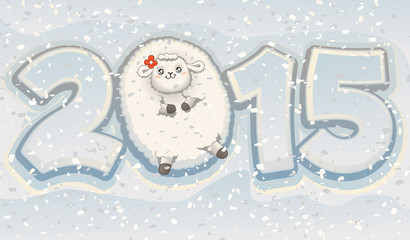 Happy New Year of the Sheep 2015 Chinese Zodiac Vector
