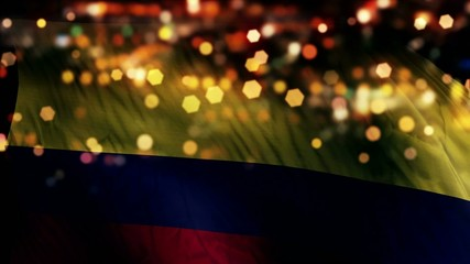 Colombia Flag Light Night Bokeh Abstract Loop Animation