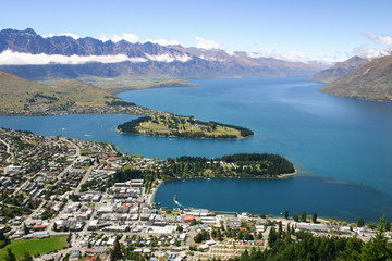 View to lake Wakatipu and Queenstown, New Zealand