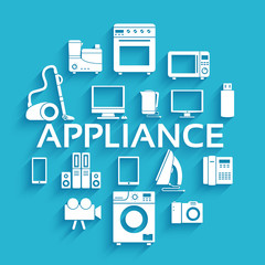 Flat modern kitchen appliances set icons concept. Vector illustr