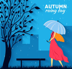 Girl and boy with umbrella in a autumn raining day background co