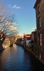 View of the water channel in belgian bruges