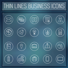 thin line business set icons concept. Vector illustration. Color