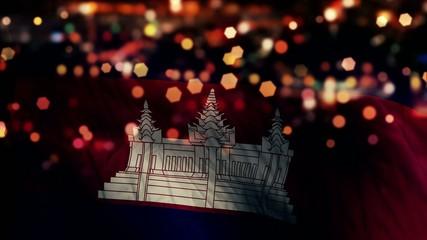 Cambodia Flag Light Night Bokeh Abstract Loop Animation