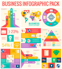 collection of 9  business flat infographic elements set for desi