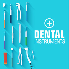 flat dental instruments set design concept background. Vector il