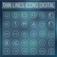 thin line digital gadget set icons concept. Vector illustration.