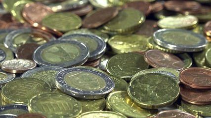 Euro Coins (close-up dolly footage)