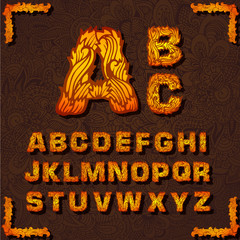 Fire set font alphabet text on a red background concept. Vector
