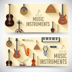 flat music instruments banners concept. Vector illustrator desig
