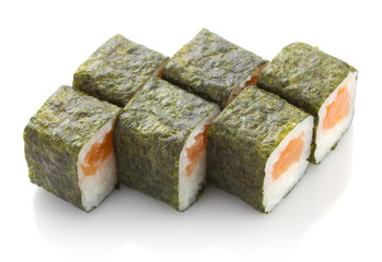 Sushi maki roll with salmon isolated