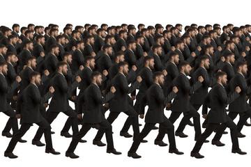 Marschierende Klone auf weissem Hintergrund