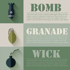 flat military explosive weapons set design concept. Vector illus