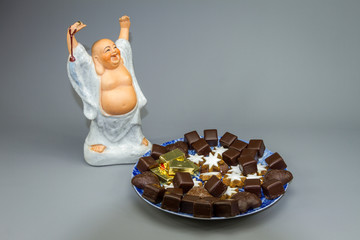 Weihnachtsteller mit Buddha