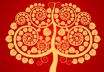 Bodhi tree contemporary art pattern on a red background