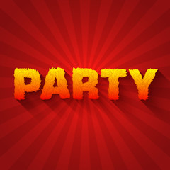 Fire party text on a red background concept. Vector design conce