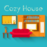 Flat cozy room in house with furniture background vector illustr