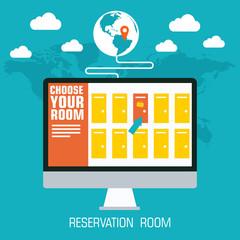 flat reservation room background design concept. Vector illustra