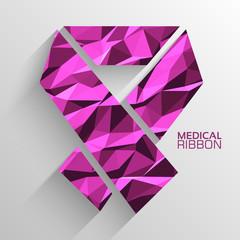 Polygonal ribbon cancer vector background concept. Illustration
