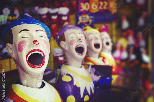 Foto op Canvas Carnaval Laughing clowns at the fair ground