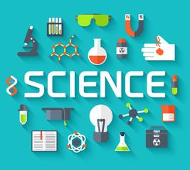 Retro experiments in a science chemistry laboratory icon concept