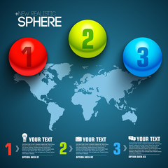 Business sphere infographic template with text fields. Vector Il