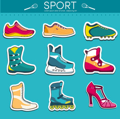big illustration collection set of sport shoe equpment backgroun