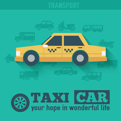 Flat taxi car background illustration concept. Tamplate for web