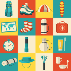 Flat colorful vector tourist equipment infographic. Icons backgr