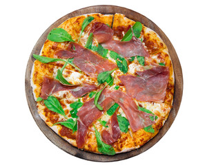 Delicious italian pizza on wooden table